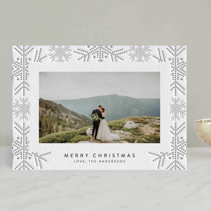 dotted line snowflakes Holiday Card