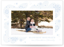 This is a blue letterpress holiday card by Paper Raven Co. called Snow Dash with letterpress printing on bright white letterpress paper in standard.