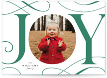 This is a green letterpress holiday card by Joanna Griffin called Joyful Scrolls with letterpress printing on bright white letterpress paper in standard.