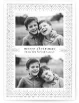 This is a grey letterpress holiday card by Alethea and Ruth called Nordic Pattern with letterpress printing on bright white letterpress paper in standard.