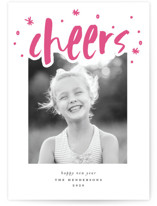 This is a pink letterpress holiday card by Ashlee Townsend called Cheers with letterpress printing on bright white letterpress paper in standard.