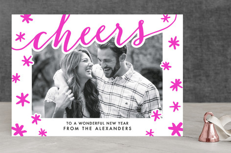 Cheerful Snowflakes Letterpress Holiday Photo Cards