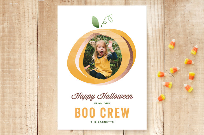 """Boo Crew"" - Whimsical & Funny Halloween Cards in Apricot by Bethany Anderson."