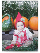 This is a white halloween party invitations card by carly reed walker called Cute Cobwebs printing on smooth signature in standard.