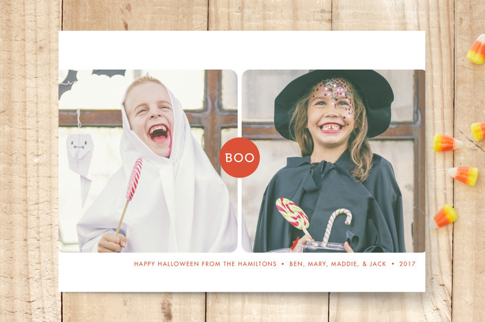 """Double Boo"" - Modern Halloween Cards in Jack-O-Lantern by Fig and Cotton."