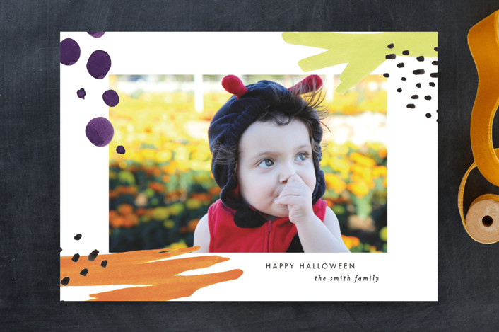 """Halloween Pop"" - Halloween Cards in Citrus by Fig and Cotton."