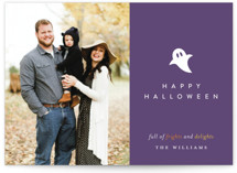 This is a purple halloween party invitations card by Robin Ott called Little Boo printing on smooth signature in standard.