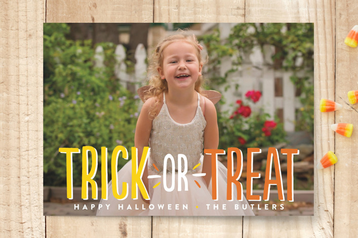 """Or Treat"" - Full-Bleed Photo Halloween Cards in Candy Corn by Robin Ott."