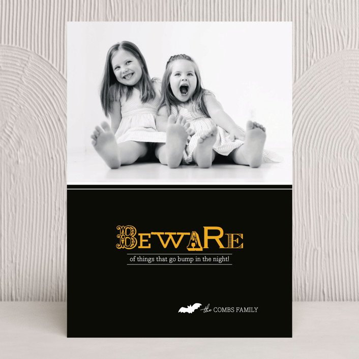 """Beware"" - Modern, Simple Halloween Cards in Midnight by Griffinbell Paper Co.."