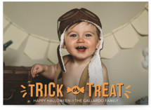 This is a orange halloween party invitations card by R studio called Sweet Treat printing on smooth signature in standard.