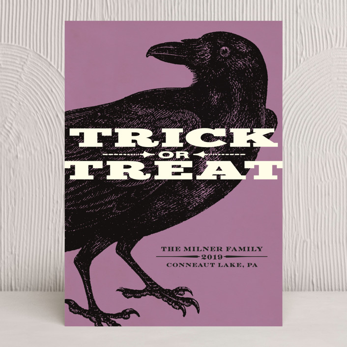 """Trick or Treat Raven"" - Vintage Halloween Cards in Grape Flavored Witches' Brew by Alex Elko Design."