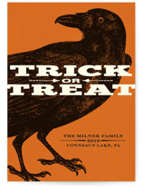 This is a orange halloween party invitations card by Alex Elko Design called Trick or Treat Raven printing on signature in standard.