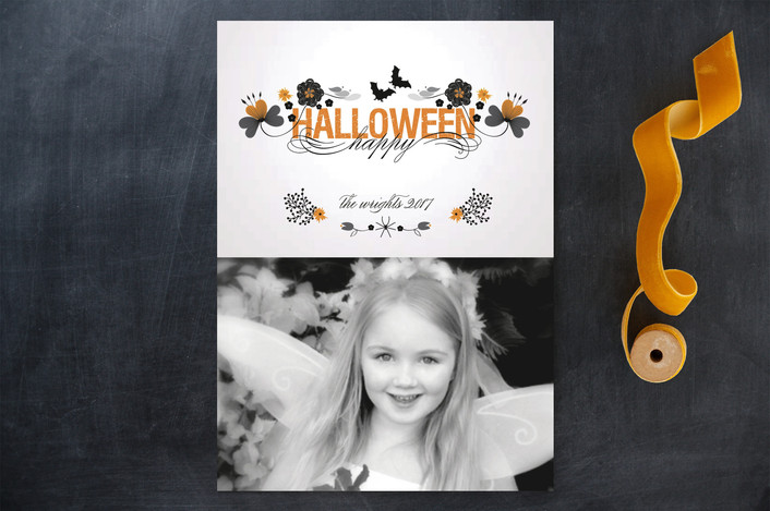 """Pretty Awful Halloween"" - Modern Halloween Cards in Pumpkin by Bonjour Paper."