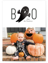 This is a white halloween party invitations card by Mansi Verma called Boo From Us printing on smooth signature in standard.
