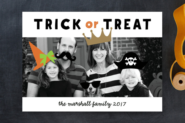 """""""Create a Costume"""" - Modern, Whimsical & Funny Halloween Cards in Orange Slice by Susan Brown."""