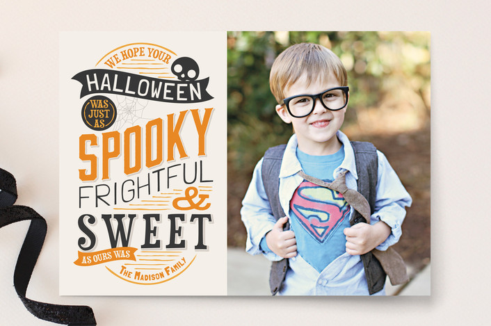 """""""Spooky and Sweet"""" - Bold typographic Halloween Cards in Mimosa by GeekInk Design."""