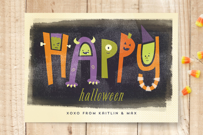 """Monster Letters"" - Modern, Bold typographic Halloween Cards in Plum by Susie Allen."
