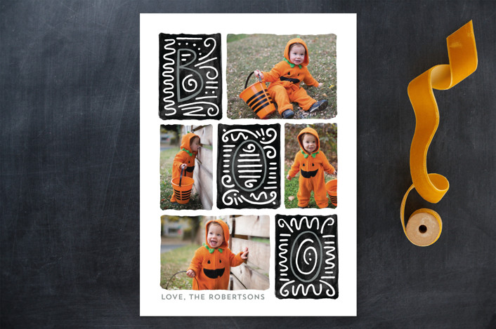 """Boo"" - Modern Halloween Cards in Midnight by JeAnna Casper."