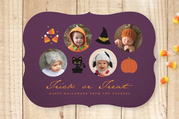 """Icons of Halloween"" - Funny, Minimalist Halloween Cards in Dusk by Dawn Jasper."