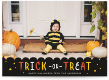 This is a black halloween party invitation by Shirley Lin Schneider called Festive Trick or Treat printing on smooth signature in standard.