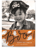 This is a orange halloween party invitations card by Creo Study called Friendly Boo printing on smooth signature in standard.