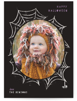 This is a black halloween party invitations card by Creo Study called Spooky Frame printing on smooth signature in standard.