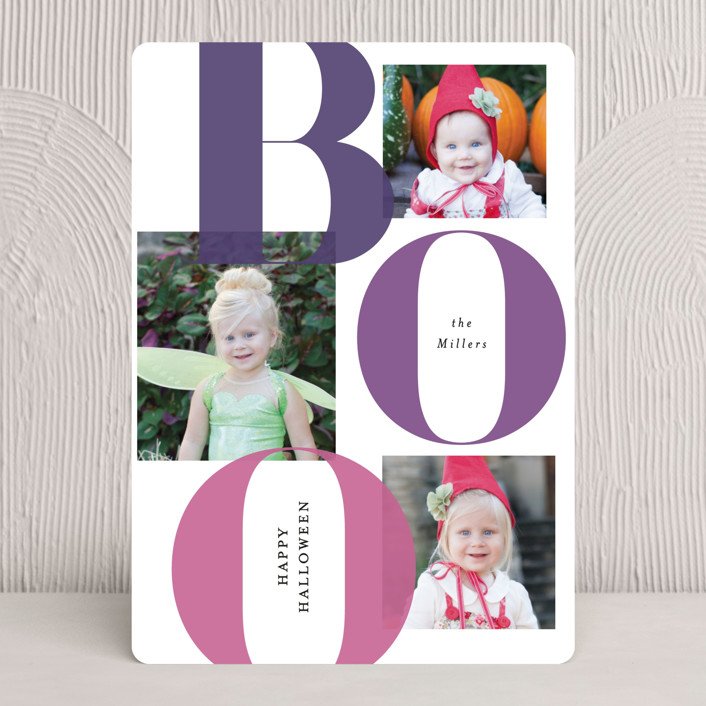 """""""Bold Boo"""" - Halloween Cards in Plum by Itsy Belle Studio."""