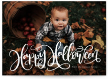 This is a white halloween party invitation by Amy Payne called Happy Halloween printing on smooth signature in standard.