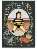 This is a orange halloween party invitation by Morgan Ramberg called Spooky Frame printing on smooth signature in standard.