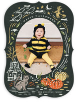 This is a orange halloween party invitations card by Morgan Ramberg called Spooky Frame printing on smooth signature in standard.