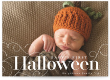 This is a white halloween party invitations card by Melissa Casey called Baby's First Halloween printing on smooth signature in standard.