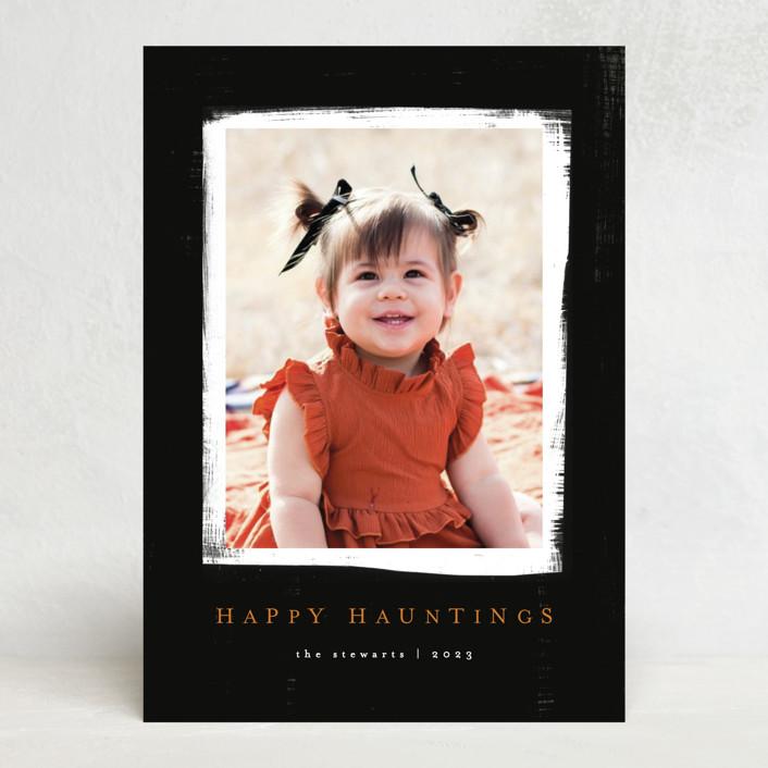 """""""happy hauntings"""" - Modern Halloween Cards in Noir by Angela Garrick."""