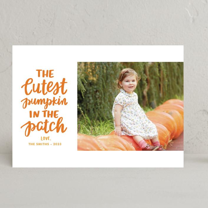 """""""Cutest Pumpkin"""" - Halloween Cards in Pumpkin by Little Print Design."""