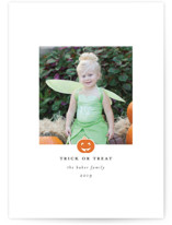 This is a orange halloween party invitations card by Laura Hamm called Happy Pumpkin printing on smooth signature in standard.