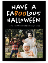 This is a black halloween party invitations card by Heather Schertzer called Faboolous printing on smooth signature in standard.