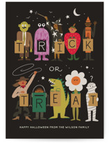 This is a black halloween party invitations card by Morgan Ramberg called Trick or Treaters printing on signature in standard.