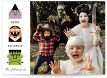 This is a purple halloween party invitations card by Becky Nimoy called Halloween Monsters printing on smooth signature in standard.