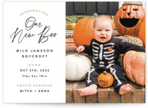 This is a orange halloween party invitations card by Hooray Creative called Our New Boo printing on smooth signature in standard.