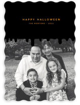 This is a black halloween party invitations card by Sumak Studio called creepy printing on smooth signature in standard.