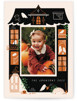 This is a orange halloween party invitations card by Grae called Ghost House printing on smooth signature in standard.
