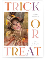 This is a colorful halloween party invitations card by Jackie Crawford called Bold Trick or Treat printing on smooth signature in standard.