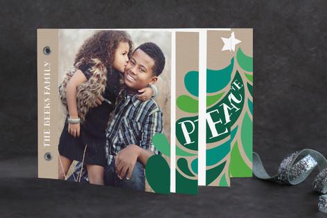 Retro Peace Tree Holiday Minibook™ Cards