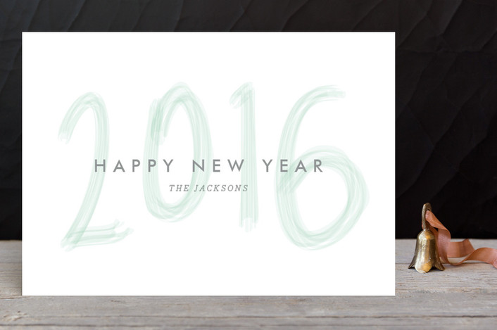 """Brushed New Year"" - Holiday Petite Cards in Mint by Natalie Nakai."
