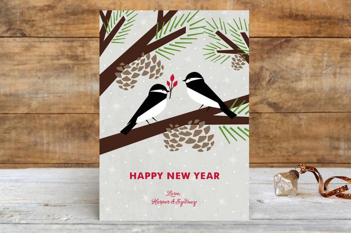"""""""Chickadee Gift"""" - Holiday Petite Cards in Silver by Eine Kleine Design Studio."""