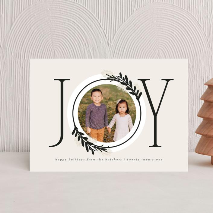 """Center Joy"" - Modern Holiday Petite Cards in Cookie Dough by JeAnna Casper."