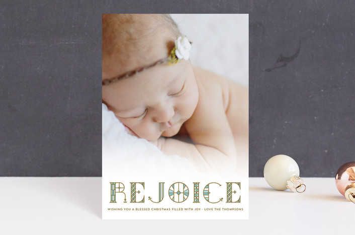 """Stainglass Rejoice"" - Holiday Petite Cards in Robin's Egg by Coco and Ellie Design."