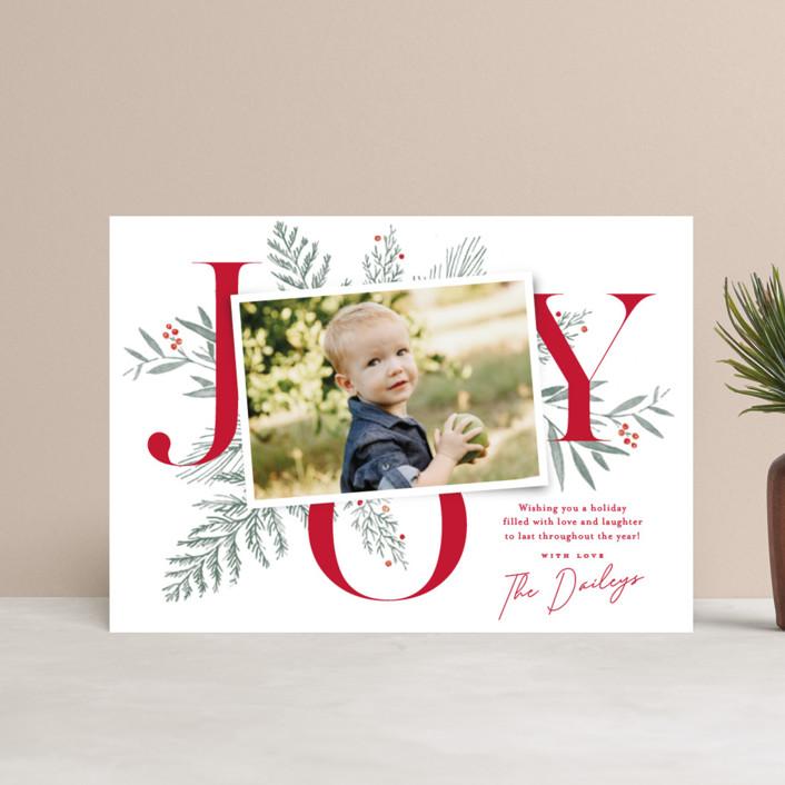"""Joy Greenery"" - Holiday Petite Cards in Candy Cane by Oscar & Emma."