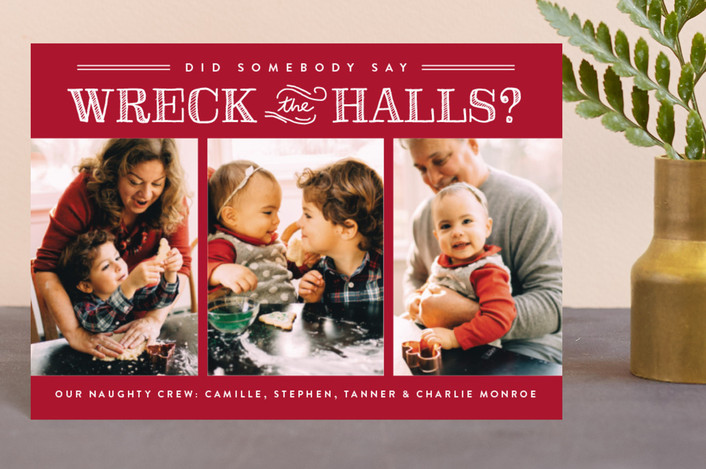 """Wreck the Halls"" - Holiday Petite Cards in Smashed Cranberries by Sara Hicks Malone."