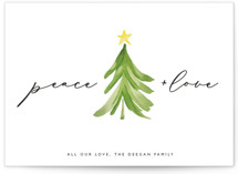 This is a green petite holiday card by Erin Deegan called Simple Tree with standard printing on signature in petite.