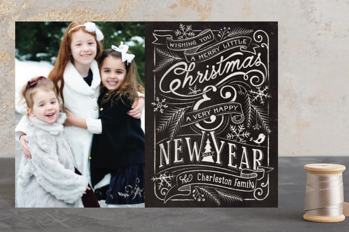 """""""Merry Little Chalkboard"""" - Holiday Petite Cards in Chalkboard by GeekInk Design."""
